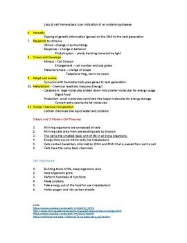 Introduction to Life and Cells Notes