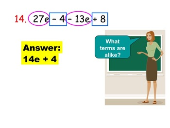 Introduction to Like Terms and Distributive Property (Instructional PP & Assign)