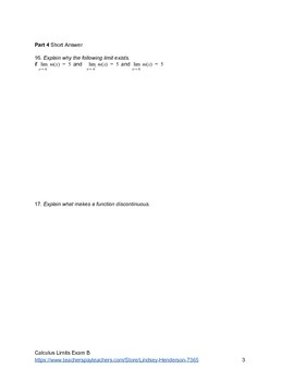 Introduction to Limits Test Version B