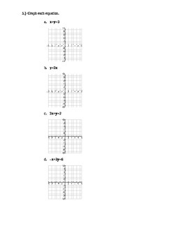 Introduction to Linear Equaitons and Graphing