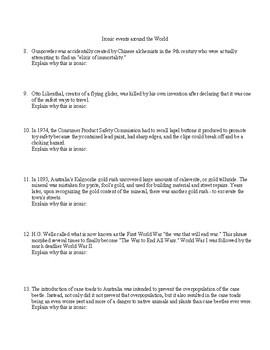 Introduction to Literary Analysis: Irony activity