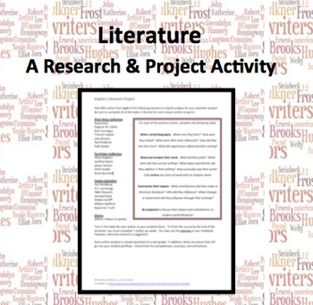 Introduction to Literature Semester Research Project -Freshman English I
