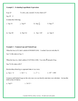 Introduction to Logarithms: Guided Notes and Practice Worksheet (Editable)