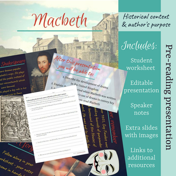 Macbeth - Pre-reading presentation on author's purpose & historical context