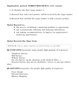 Introduction to Marketing and Market Research - Overhead and Activity