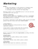 Introduction to Marketing and Market Research - Student Note and Activity