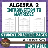 Introduction to Matrices - Student Practice Pages
