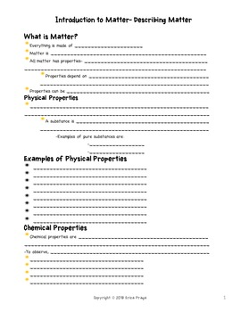 Introduction to Matter-Describing Matter PowerPoint and Notes
