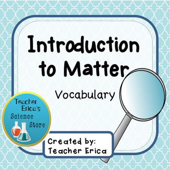 Introduction to Matter Unit Word Wall Vocabulary