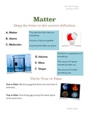 Introduction to Matter Worksheet