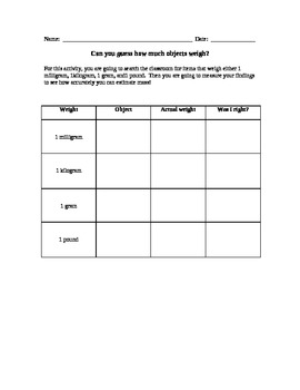 Introduction to Measurement (weight) activity