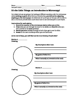 Introduction to Microscopy Editable Worksheet