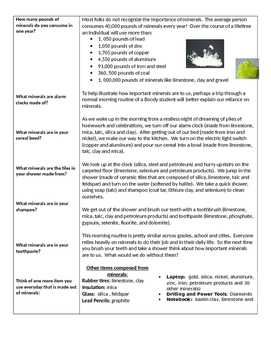 Introduction to Minerals Guided Notes and Reading Activity
