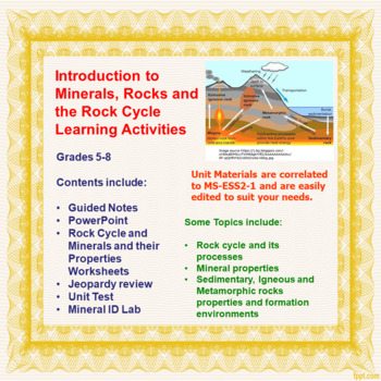 Introduction to Minerals, Rocks and the Rock Cycle Learnin