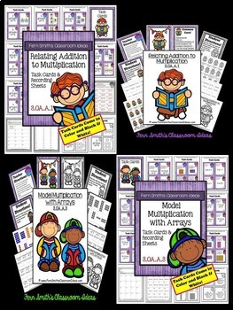 3rd Grade Go Math Chapter Three Understanding Muliplication Center Games Bundle