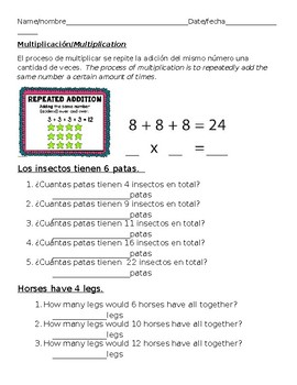 Introduction to Multiplication Multiplicacion