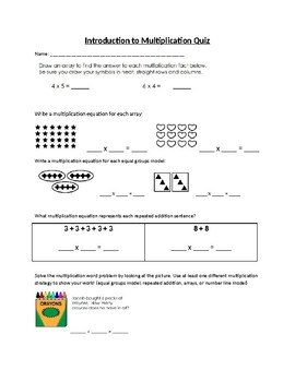 Introduction to Multiplication Study Guide and Quiz