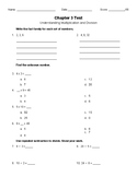 Introduction to Multiplication and Division Test- 4th Grade