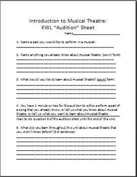 "Introduction to Musical Theatre-KWL ""Audition"" Sheet"