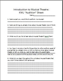 """Introduction to Musical Theatre-KWL """"Audition"""" Sheet"""