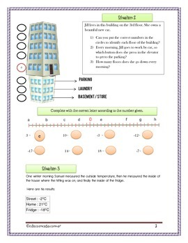 Introduction to Negative Numbers with answer sheet