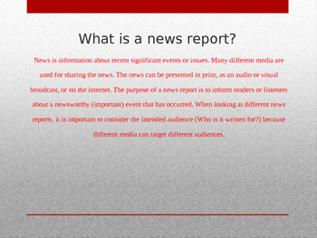 Introduction to News Reports Power Point Presentation