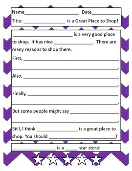 Introduction to Opinion/Persuasive Writing:  A Great Place to Shop