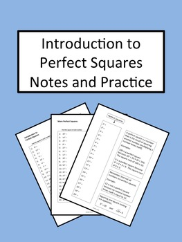 Introduction to Perfect Squares Notes and Practice