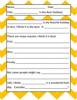 Introduction to Persuasive/Opinion Writing:  The Best Holiday