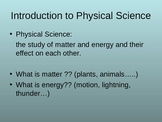 Introduction to Physical Science PowerPoint Notes