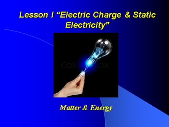 "Introduction to Physics Lesson I PowerPoint ""Electric Charge & Static Elect."""