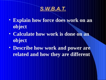 """Introduction to Physics Lesson IV PowerPoint """"Work and Power"""""""