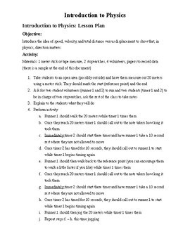 Simple Introduction to Speed and Velocity Lesson Plan