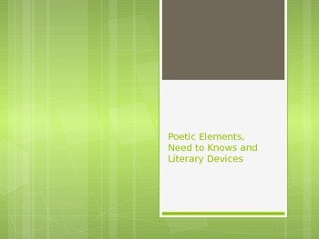 Introduction to Poetic Elements or Devices