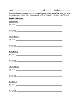 Introduction to Poetry Study Guide