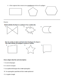 Introduction to Polygons Notes/Practice