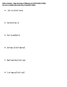 Introduction to Polynomials Assessment
