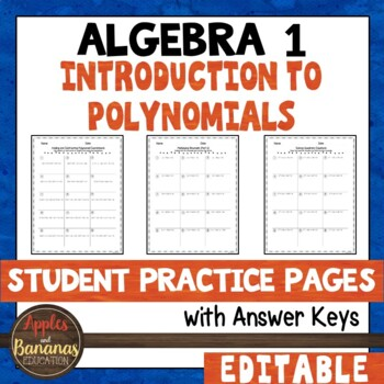 Introduction to Polynomials Student Practice Pages