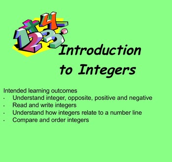 Introduction to Positive and Negative Numbers Activities Smartboard