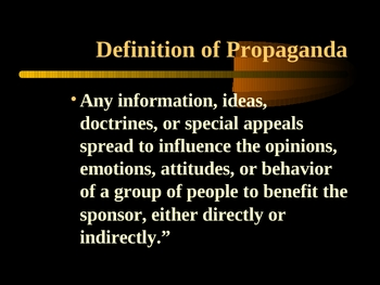 Introduction to Propaganda Techniques PowerPoint