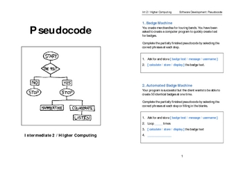 Introduction to Pseudocode Task Booklet (Int 2 / Higher Computing)