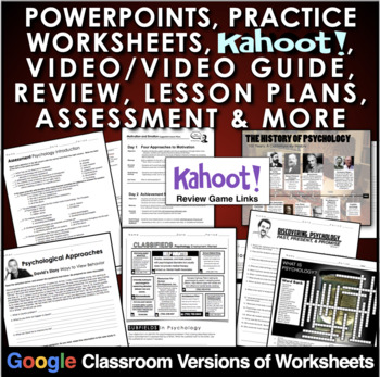 Introduction to Psychology Entire Unit: PPTs, Worksheets, Lesson Plans+Test