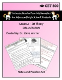 Introduction to Pure Mathematics - Lesson 2 - Set Theory - Sets and Subsets