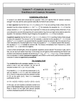 Introduction to Pure Mathematics - Lesson 7 - Complex Analysis - Complex Field
