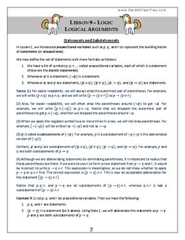 Introduction to Pure Mathematics - Lesson 9 - Logic - Logical Arguments