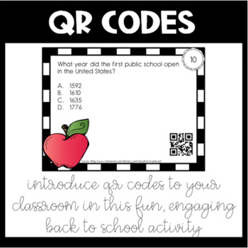 Introduction to QR Codes: Back to School Trivia Task Cards