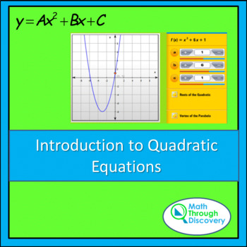 Algebra: Introduction to Quadratic Equations-A and B -Parabolic Function Grapher