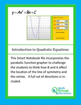 Introduction to Quadratic Equations-A and B -Parabolic Function Grapher