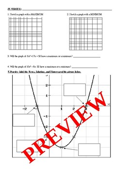 Introduction to Quadratic Functions Guided notes