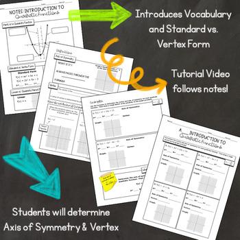 Intro to Quadratics Notes, Assignment, Warmup, Tutorial Video